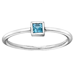 Blue Topaz Stackable 10K White Gold Ring