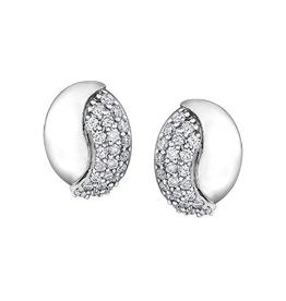 10K White Gold (0.28ct) Diamond Pavee Set Earrings