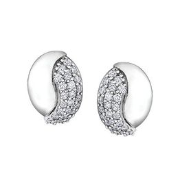 White Gold Diamond Pavee Set Earrings