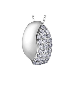 10K White Gold (0.30ct) Diamond Pavee Set Pendant