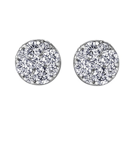 Estoria White Gold (0.50ct) Cluster Diamond Stud Earrings