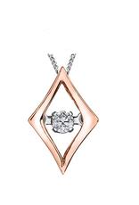 10K White & Rose Gold (0.02ct) Dancing Diamond Pendant