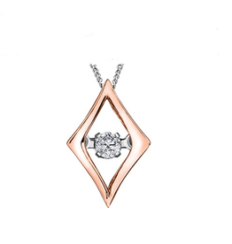 10K Rose and White Gold (0.02ct) Dancing Diamond Contemporary Pendant