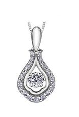 White Gold (0.27cttw) Dancing Diamond Pendant