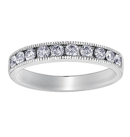 White Gold Channel Set (0.15ct) Milligrain Edges Diamond Band