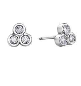 White Gold (0.05ct)  Bezel Bubble Diamond Earrings
