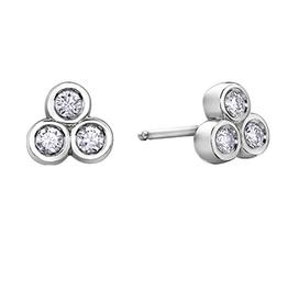 10K White Gold (0.10ct)  Three Stone Diamond Earrings