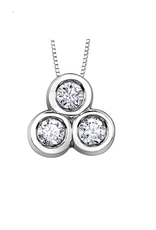10K White Gold (0.25ct) Three Stone Diamond Pendant