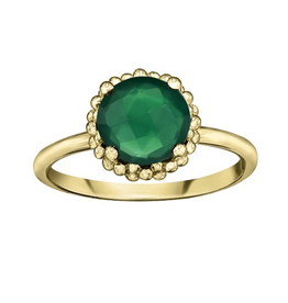 Yellow Gold Green Onyx Ring