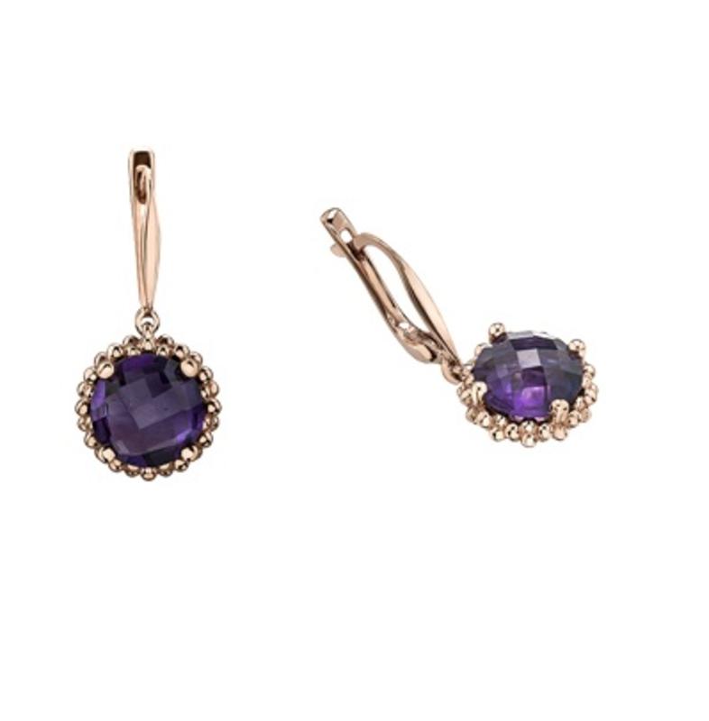 Rose Gold Amethyst Dangle Earrings