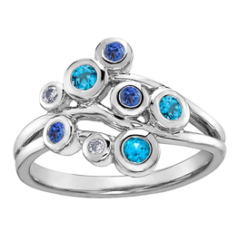 White Gold Blue Topaz, Tanzanite & Diamond Ring