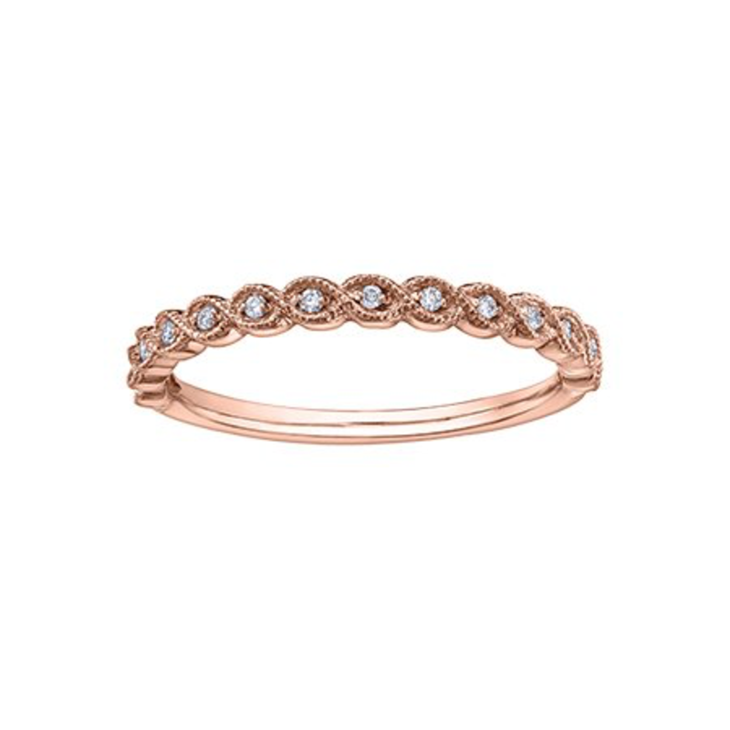 10K Rose Gold (0.07ct) Diamond Stackable Wedding Band