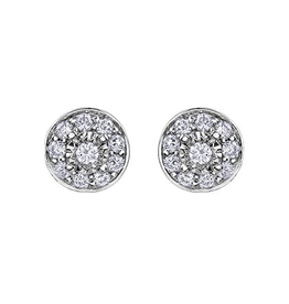 White Gold Halo (0.17ct) Cluster Diamond Stud Earrings
