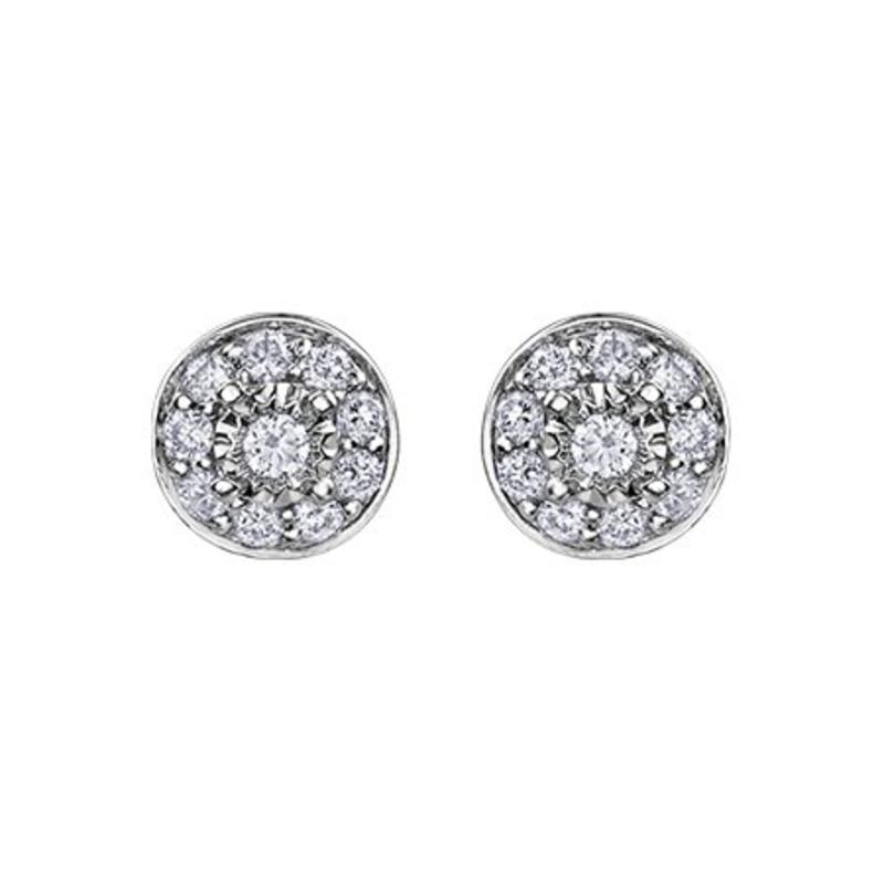 White Gold Halo (0.17ct ) Cluster Diamond Stud Earrings
