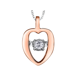 10K Rose and White Gold (0.02ct) Dancing Diamond Heart Pendant