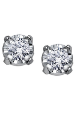 10K White Gold (0.04ct) Illusion Set Diamond Stud Earrings