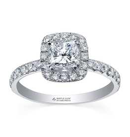 Maple Leaf Diamonds 18K Palladium White Gold Maple Leaf (1.00ct) Canadian Diamond Halo Engagement Ring