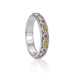 MeditationRings Meditation Ring Solar Sterling Silver set with  Semi - Precious Tourmaline & Citrine Gemstones