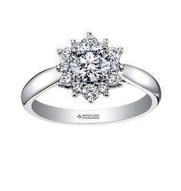 Maple Leaf Diamonds 18K Palladium White Gold Maple Leaf (0.60ct) Canadian Diamond Tides of Love Engagement Ring