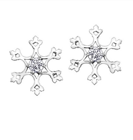 Maple Leaf Diamonds White Gold Snowflake Canadian Diamond Earrings