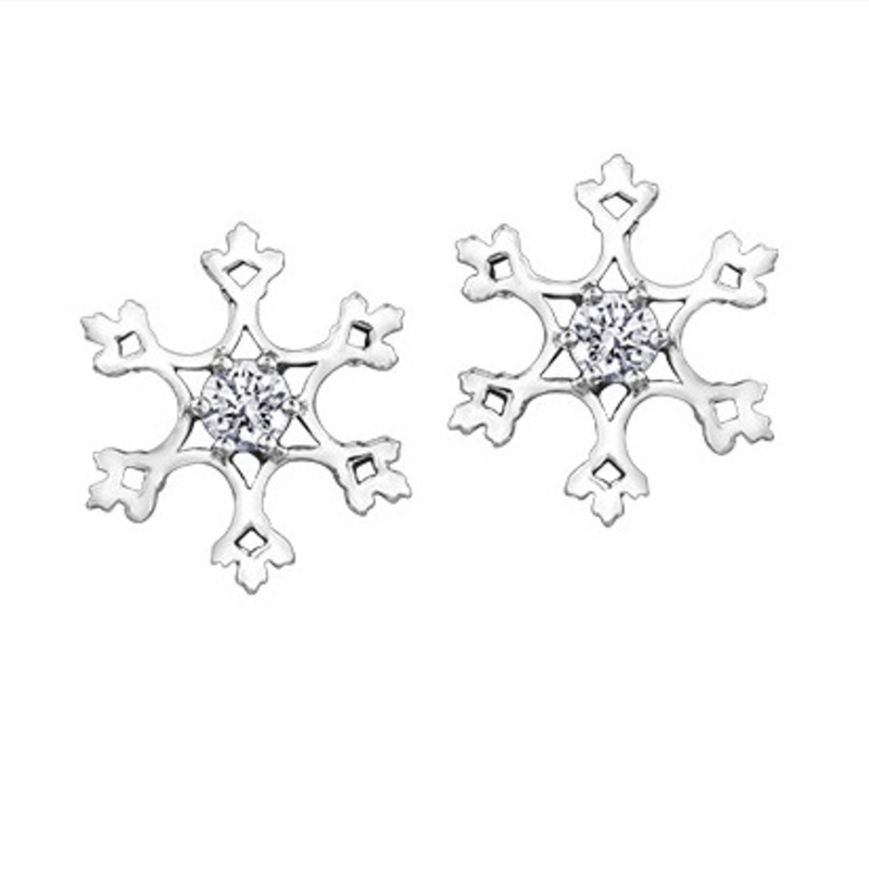 Maple Leaf Diamonds 10K White Gold Snowflake (0.10ct) Canadian Diamond Earrings