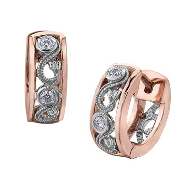Maple Leaf Diamonds Rose and White Gold Enchanted Earrings (0.10ct)