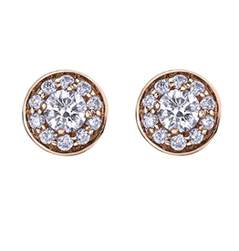 Maple Leaf Diamonds 14K Rose Gold (0.60ct) Canadian Maple Leaf Diamond Halo Earrings