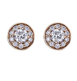 Maple Leaf Diamonds Rose Gold Halo (0.60ct) Canadian Maple Leaf Diamond Stud Earrings