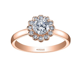 Maple Leaf Diamonds 14K Rose Gold Maple Leaf (0.40ct) Canadian Diamond Halo Engagement Ring