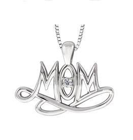 "Maple Leaf Diamonds Sterling Silver (0.02ct) Canadian Diamond ""MOM"" Pendant"