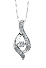 White Gold (0.25ct) Dancing Diamond Pendant