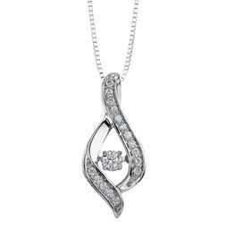 10K White Gold (0.25ct) Dancing Diamond Pendant