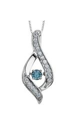 White Gold (0.25cttw) Dancing Blue Diamond Pendant