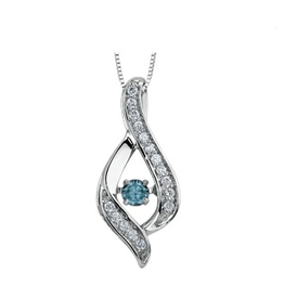 10K White Gold (0.25ct) Blue Dancing Diamond Pendant
