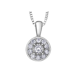 Illuminaire White Gold (0.16ct ) Cluster Diamond Halo Pendant