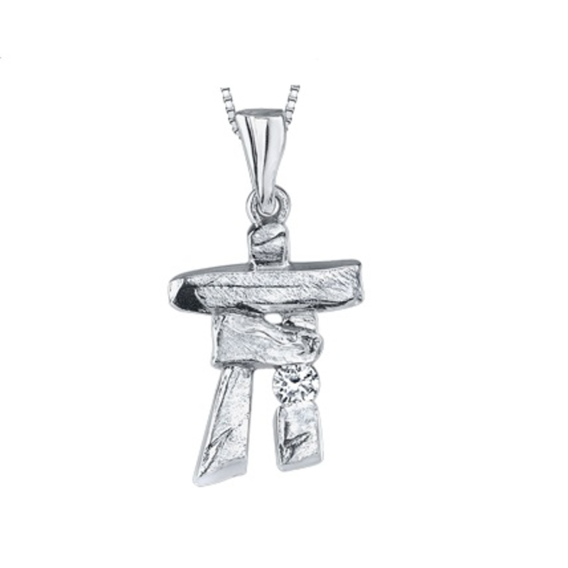 10K White Gold Inukshuk Pendant with 0.05ct  Canadian Diamond
