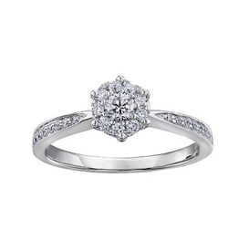 10K White Gold (0.35ct) Cluster Diamond Engagement Ring