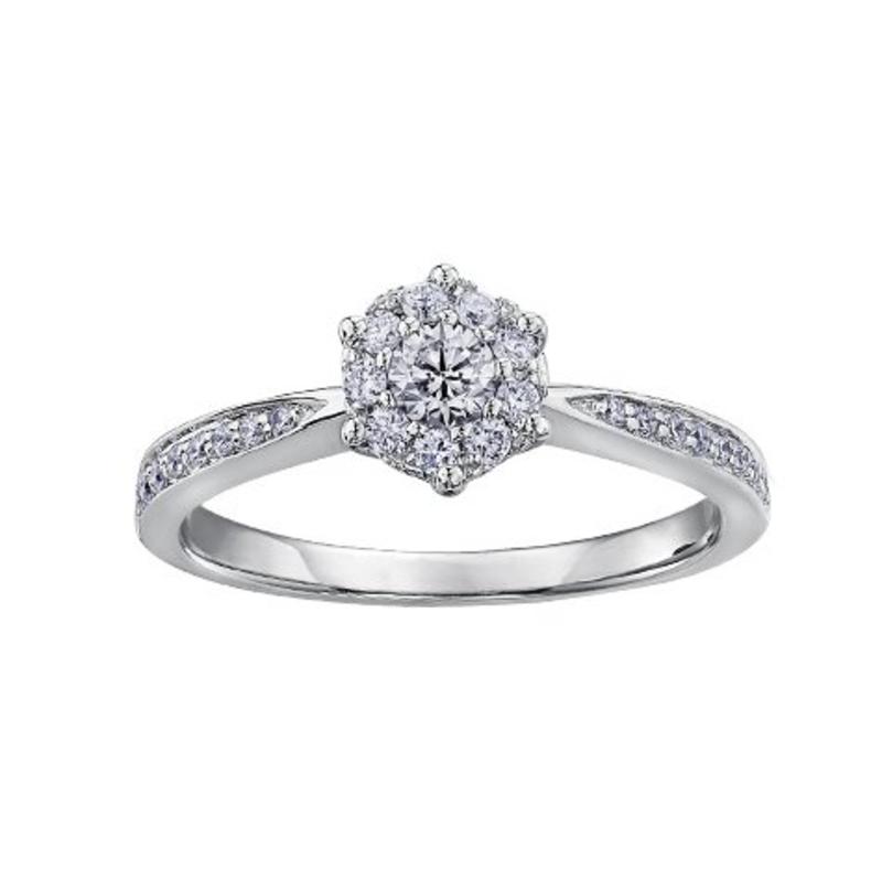 Diamond Cluster Ring (0.35ct) 10K White Gold
