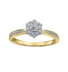 10K Yellow Gold (0.35ct) Cluster Diamond Engagement Ring