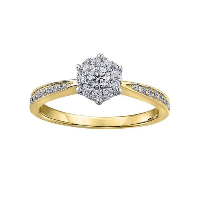 Diamond Cluster Ring  (0.35CT) 10K Yellow Gold