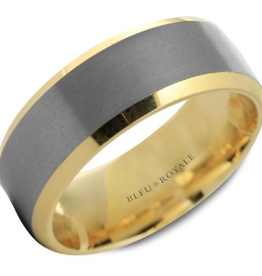 14K Yellow Gold Band and Brushed Tantalum Centre