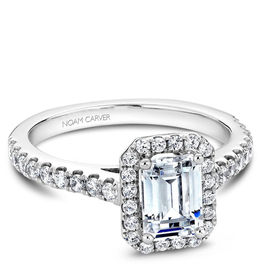 Noam Carver Emerald Shaped Halo Mount in White Gold