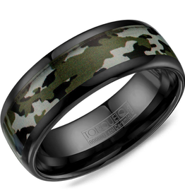 Torque Torque Black Ceramic 8mm Band with Camouflage Pattern Inlay
