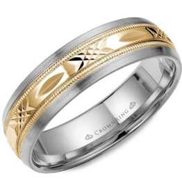 Crown Ring Yellow and White Gold Laser Cut Band (6mm)