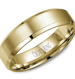 Crown Ring Bevelled (6mm) Yellow Gold Brushed Band