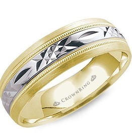 Crown Ring 14K Yellow and White Gold Laser Cut Band (7mm)