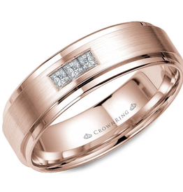 Crown Ring Rose Gold with Brushed Centre (0.15ct) Diamond Band