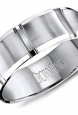Crown Ring Crown Ring White Gold Santin Finish 7mm Men's Wedding Band
