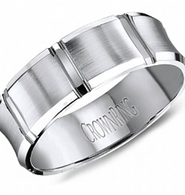 Crown Ring Crown Ring White Gold Santin Finish 7mm Men's Wedding Band
