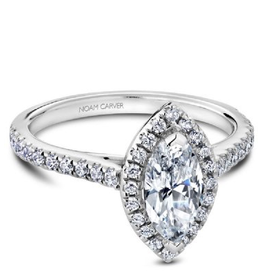 Marquise Halo Diamond Mount in White Gold